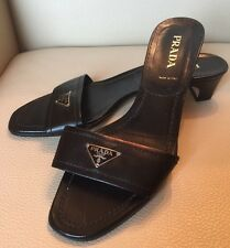 Authentic PRADA: Black, Leather & Metal Logo, Slip-on Sandals/Heels   Sz: 8.5
