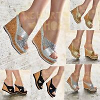 Ladies Platform Slip on wedges Open Toe Sandals Cork Mules High Heel Shoes Size