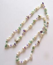 """Fresh Water Pearl Necklace- round white pearls- green purple beads -31"""" long"""