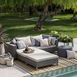 Beige - All Weather Wicker Sofa Sectional Set