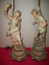Pair French Colonial Metal  Neoclassical Figural Lamps after L&F Moreau