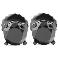 1 TCW 14k Black Gold Round Black Diamond Screw Back Studs Earrings