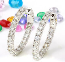 3.05 Carat Natural Diamond 14K Solid White Gold Hoop Earrings