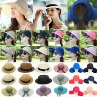 Women Ladies Wide Brim Cap Beach Cap Outdoor Holiday Sun Visor Straw Hat Summer