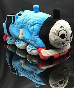 "2013 MATTEL Plush 14"" GOODNIGHT BEDTIME THOMAS TANK Train ENGINE Toy Blue Pillow"