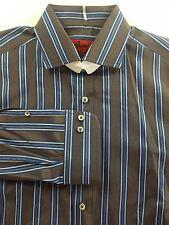 BRIONI Mens Bespoke Brown/Blue Striped LS Dress Shirt 15.5-33 Regular Fit NEW