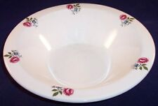 """Vintage Lord Nelson 9-1/2"""" Pottery Vegetable Serving Bowl, Rose Pattern, Crazing"""