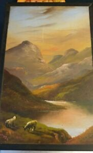 Original acrylic painting! Lake District landscape! Signed! H Burton! Framed!
