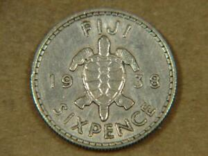 1938 Fiji Sixpence Silver Coin