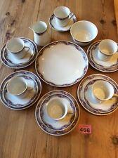 Union Czechoslovakia Porcelain Tea Set 5x Trio, Cake Plate, Sugar Bowl, Milk jug