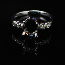 6x8mm Oval Cut Solid 14K 585 White Gold Semi Mount Natural Diamond Ring