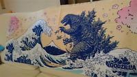 Godzilla × Ukiyoe Hokusai Collaboration Japanese Traditional Towel Free Shipping