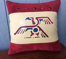 Leather pillow Handpainted aztec eagle with leather suede and gorgeous studs
