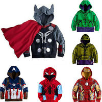 Toddler Kids Boys  Superhero Costume Hooded Jacket Coat Zipper Hoodie Sweatshirt