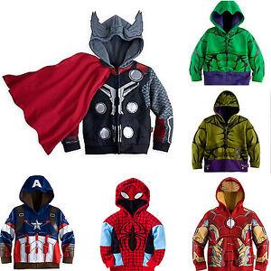 Child Boys Spiderman Iron Man Hulk Jacket Coat Cosplay Hoodie Zipper Sweatshirt