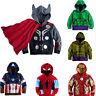 Kids Boys Iron Man Captain America Hulk Hoodie Jacket Coat Hooded Sweatshirt Top