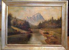 Antique Original Oil Painting on Board by Josef Kreus of Waltzmann peak Framed