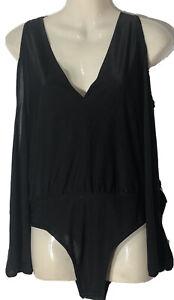 Black Long Sleeve Bodysuit Size M TEMT Stretchy Fabric Polyester/ Spandex GC