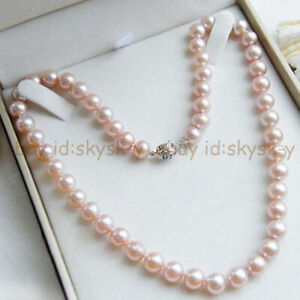 """BEAUTIFUL AAA++ 8mm PINK SOUTH SEA SHELL PEARL ROUND BEADS NECKLACE 18"""""""