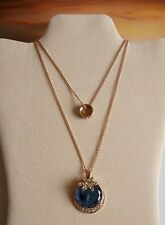 Vintage Boho Style Rhinestone Blue Glass Double Chain Pendant Necklace Gift Bag