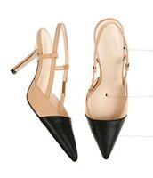WOmen's Leather Mid Heels Colourblock Beige and Black Slingbacks Pumps Shoes