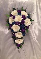 ARTIFICIAL FLOWERS IVORY PURPLE TEAL ROSE GERBERA CRYSTAL WEDDING SHOWER BOUQUET