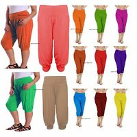 Ladies 3/4 Harem Baggy Shorts Women Plain Cropped Ali Baba Trousers Pants 8-22
