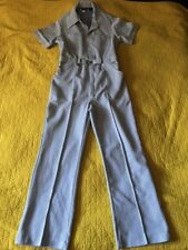 Sears Perma-Prest Sz 40R Blue White Striped Short Sleeve JumpSuit Speed suit