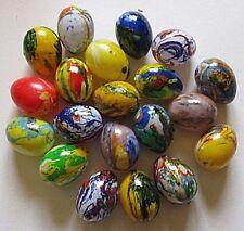 20 Ostereier marmoriert 4,8 x 3,6 cm zum Aufhängen Plastik Ostern + 20 Aufhänger