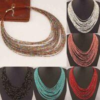 Boho Necklace Women Jewelry Beads Multi layer Choker Statement Pendant Gift lskn
