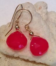 14K Solid Yellow Gold Pink Chalcedony Briolette Earrings