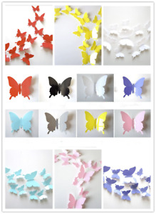 12PCs PVC Butterfly 3D Wall Stickers Decors Wall Art Wall Home Decorations UK