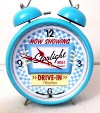 RETRO STYLE STAR LIGHT DRIVE IN BLUE NEON ALARM CLOCK