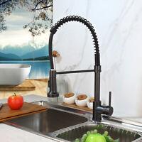 Black Kitchen Sink Pull Down Spray Mixer Swivel Spout Faucet Single Handle Taps