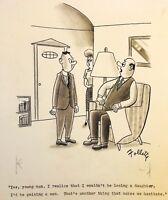 ORIGINAL TRUE MAGAZINE GAG CARTOON ART LEW FOLLETTE 1951 FATHER OF THE BRIDE