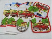 5 Piece Red Farm Truck Kitchen Decor Potholders, Oven mitt, Towels set
