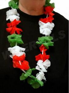 Blumenkette/Hawaikette rot weiß grün (Italien,Mexiko,Ungarn) 100cm Blütenkette