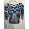 Ann Taylor Women's Sweater Top Chevron Print 3/4 Sleeve Blue White Knit Size XS