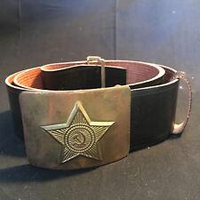 Vtg. Collectible Brass? Communist Belt Buckle with Leather Belt