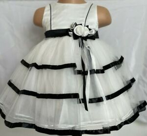 Black Ivory Flower Girl Bridesmaid Christening Pageant Party Eid Dress 0-24m