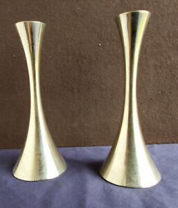Pair of Solingen Mid Century Modern Metal Candlesticks, Futuristic Design