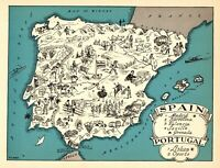 1932 Antique Animated SPAIN Map RARE Cartoon Picture Map of Spain BLU 7257