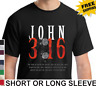 Religious Christian John 3:16 God So Loved Mens Short Or Long Sleeve T Shirt