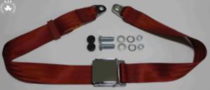 Zweipunkt Seat Belt For NSU Classic Car, Red Chrome Retro
