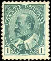 Canada #89 mint F-VF OG VLH 1903 King Edward VII 1c green CV$50.00