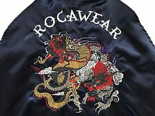 Rocawear Japan Asian Bomber Blue Satin Jacket Embroidered Panthers & Dragons Lrg