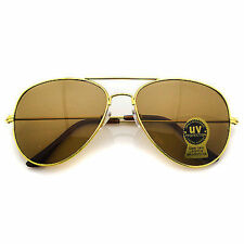 Gold Classic Retro Mens Fashion Metal Aviator Brown Lens Gold Frame Sunglasses