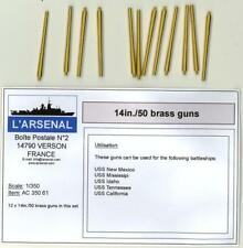 "L'Arsenal Models 1/350 14""/.50 BRASS GUN BARRELS for American Battleships (12)"