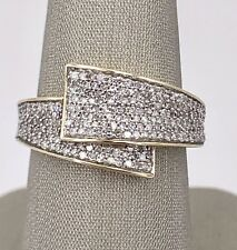 Genuine Diamond Pave & 10k Yellow Gold Sash Ring, New, Size 7