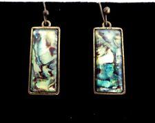 "1"" Oblong Rectangle Green Blue Abalone Paua shell style drop dangle Earrings"